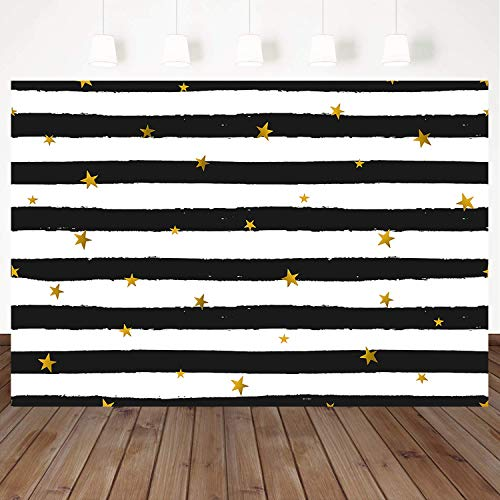 Mehofoto White and Black Stripes Backdrops 7x5ft Birthday Backdrop for Photography Gold Sequin Stars Vinyl Background