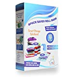 PG Creations Space Saver Compression Bags 10-pack for Packing and Storage No Vacuum Needed Double Seal Ziplock Bags for Clothing Traveling Organizing Luggage and Suitcase 5 Large & 5 Medium.