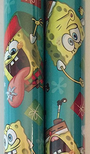 2 Rolls Boys Licensed ~ Christmas Wrapping Paper (Teal Spongebob) by Greenbrier by Greenbrier
