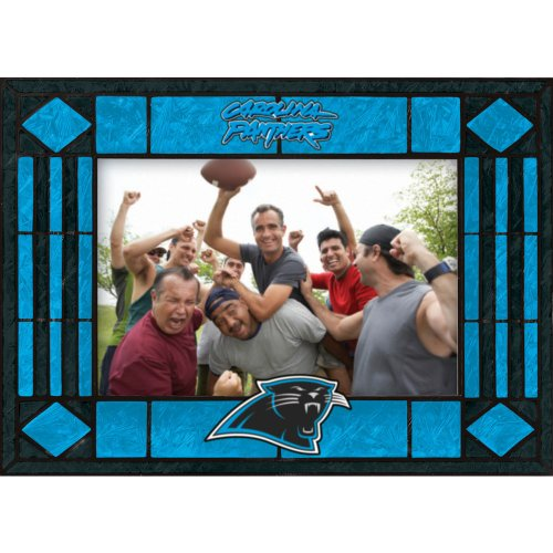(Carolina Panthers Art Glass Horizontal Frame)