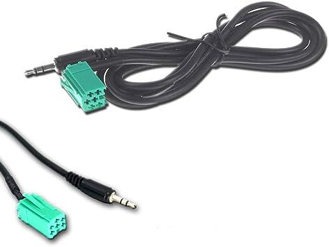 Cable AUX Audio Mini ISO 6/pines para Renault Clio Megane Scenic Modus Twingo Laguna Radio Update List Jack 3,5/mm longitud 150/cm para iPhone MP3/Smartphone