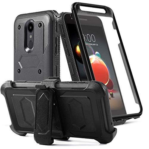 LG Aristo 2 Case/Aristo 3/Rebel 4 LTE/Tribute Dynasty/Tribute Empire/Zone 4/K8+/K8S/Fortune 2/Phonenix 4 Phone Case with Screen Protector Belt Clip[Kickstand] Full Body Heavy Duty Protective,Black ()