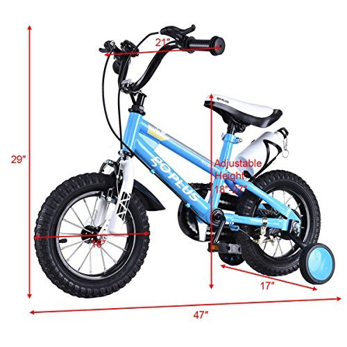 Goplus Freestyle Kids Bike Bicycle 12inch/ 16inch/ 20inch Balance Bike with Training Wheels for Boy's and Girl's (Blue, 16-inch)