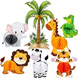 Blulu 7 Pieces Jungle Animals Centerpieces Wild Animals Honeycomb Party Supplies 3D Jungle Themed Birthday Decorations Animal Cutouts for Baby Shower Wedding Theme Party