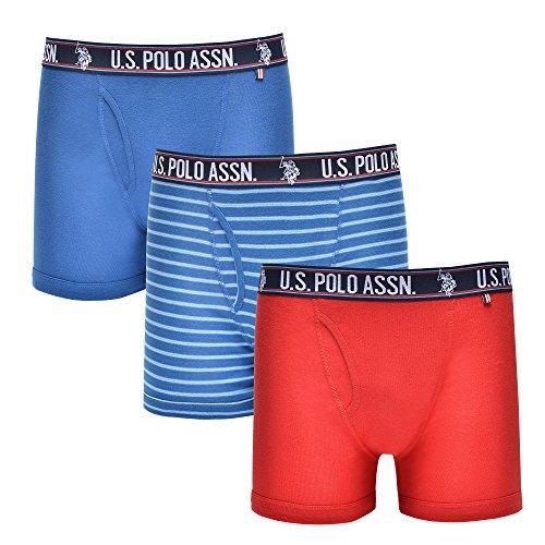 U.S. Polo Assn. Mens 3 Pack Cotton Boxer Brief Monaco Blue/U.S. Polo Medium Blue Stripe/Barbados Cherry S ()