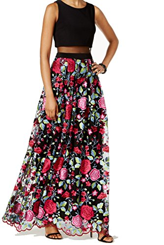 Adam Dress Womens Illusion amp Trim Sheath Floral Black Betsy C4B5wx0q