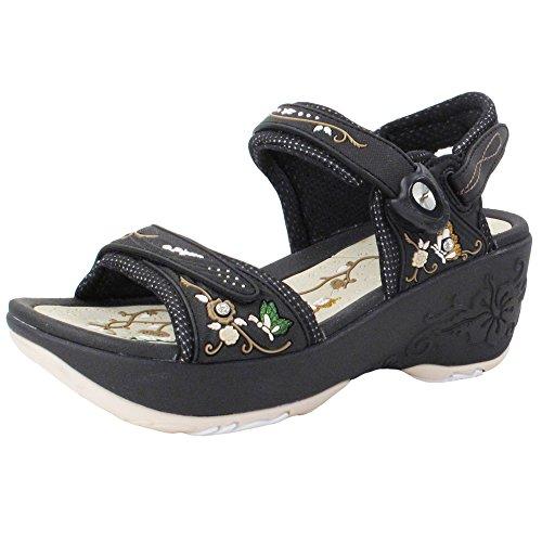 Wedge Platform Snap Lock Sandals for Women: 8698 Black Beige, EU38 (US Size 7-7.5) ()