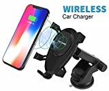 DINTO Wireless Car Charger Gravity Linkage Car Mount Phone Holder Wireless Charger Fast Charging for Galaxy S9, S8, S7/S7 Edge, Note 8 5,Standard Charge for iPhone X, 8/8 Plus & Qi Enabled Devices