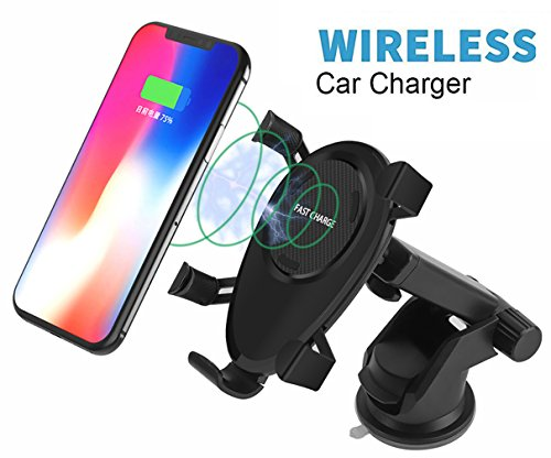 DINTO Wireless Car Charger Gravity Linkage Car Mount Phone Holder Wireless Charger Fast Charging for Galaxy S9, S8, S7/S7 Edge, Note 8 5,Standard Charge for iPhone X, 8/8 Plus & Qi Enabled Devices by DINTO