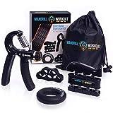 engthener Workout (4 Pack) - Adjustable Resistance Hand Strengthener, Finger Exerciser, Finger Stretcher, Grip Ring + Carrying Bag + 3 Years Warranty - Elite Sports Items