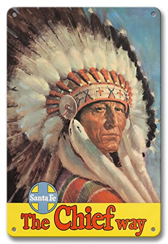 Pacifica Island Art 8in x 12in Vintage Tin Sign - Chicago to California by Train - The Chief Way - Santa Fe Railroad - Native American Indian with Eagle Head Dress ()