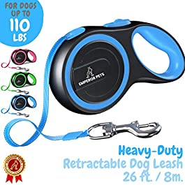 EmperorPets 16ft / 26ft Retractable Dog Leash Large Breed – Heavy Duty Dog Leash Retractable, Top Quality & Durable Dog Leashes Retractable, Tangle Free Anti Slip Handle, One Hand Lock Release