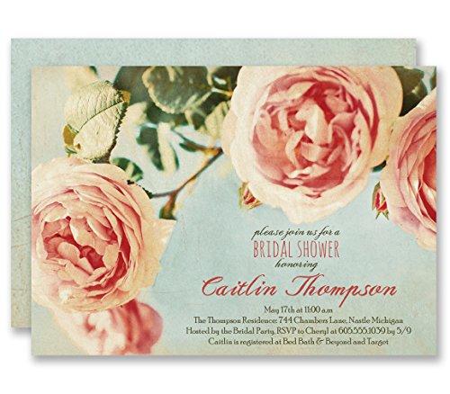 Rose Bridal Shower Invitations Vintage Botanical Wedding Personalized Boutique Invites with Envelopes - Caitlin style