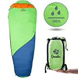 QEEMLON All Season Mummy Sleeping Bag for Adults, Boys, Girls & Teens – Waterproof, Effective Protection from Cold – Portable & Compact for Backpacking, Camping, Hiking with Compression Sack