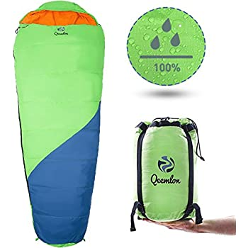 QEEMLON All Season Mummy Sleeping Bag for Adults, Boys, Girls & Teens - Waterproof, Effective Protection from Cold - Portable & Compact for Backpacking, Camping, Hiking with Compression Sack