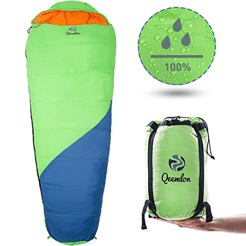 40 Sleeping Bag (QEEMLON All Season Mummy Sleeping Bag for Adults, Boys, Girls & Teens - Waterproof, Effective Protection from Cold - Portable & Compact for Backpacking, Camping, Hiking with Compression Sack)
