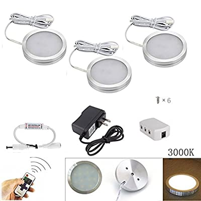 Xking 3Pcs Slim Dimmable LED Under Cabinet Lighting Kit, 12V total 6W - Warm White