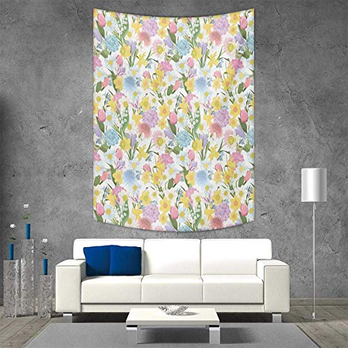(smallbeefly Spring Wall Tapestry Valley Flowers Medley Lilly Hydrangea Pin Cushion Protea Gardenia Tulips Home Decorations Living Room Bedroom 54W x 84L INCH Multicolor)
