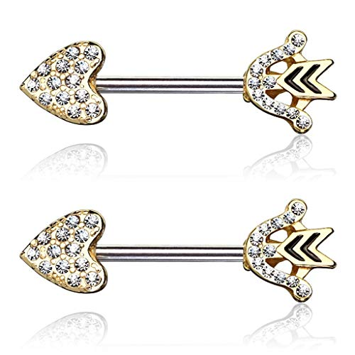 Forbidden Body Jewelry Sexy Cupid's Arrow Pave CZ Heart 14g Surgical Steel Nipple Barbells (Gold) ()