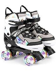 AILUKI Rolschaatsen voor kinderen, rolschaatsen voor beginners, in grootte verstelbaar (maat 31-38), comfortabel en ademend quad-skates voor meisjes, jongens, jongeren M