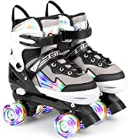 Kids Roller Skates, Pink Purple Black 4 Sizes Adjustable Roller Skates for Kids Beginners with Light up Wheels
