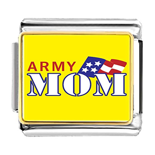 GiftJewelryShop Gold Plated American Army Mom Bracelet Link Photo Italian Charm