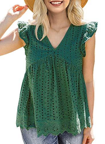 MIHOLL Women's Eyelet Tops Loose Babydoll Shirt Blouse Tunic Top Green