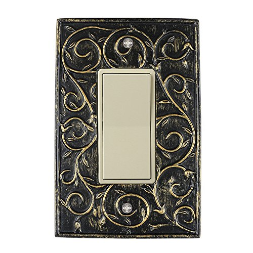 Meriville French Scroll 1 Rocker Wallplate, Single Switch Electrical Cover Plate, Pompeii Gold