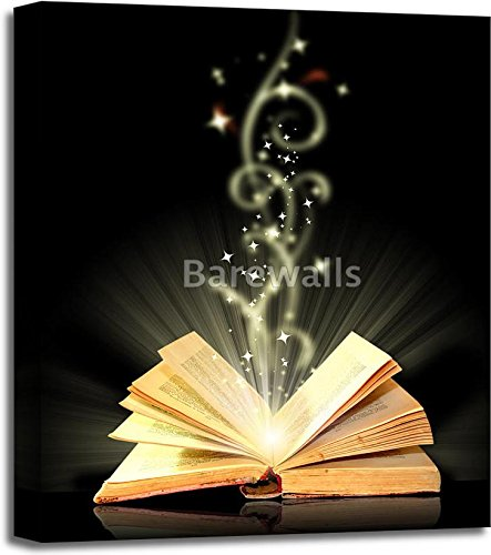 Open Book Magic On Black Gallery Wrapped Canvas Art (24 in. x 20 in.)