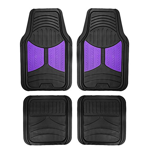 FH Group F11313 Monster Eye Full Set Rubber Floor Mats, Purple/Black Color- Fit Most Car, Truck, Suv, or Van by FH Group