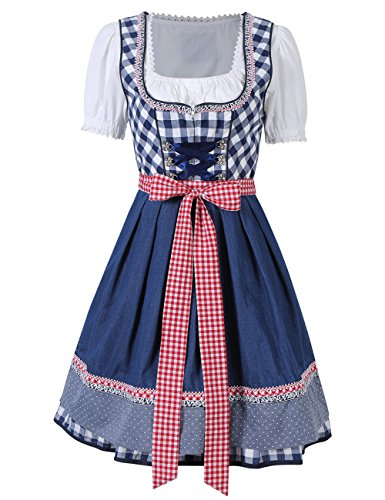 KoJooin Women 3 Pieces Bavarian Oktoberfest Costumes Barmaid Dirndl Dress Blue Plaid (Bavarian Costume Female)