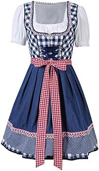 KoJooin Trachtenkleid midi Dirndl Set 3 Teilig mit Bluse Schürze Damen Kleid für Oktoberfest (42, Karo-Blau)