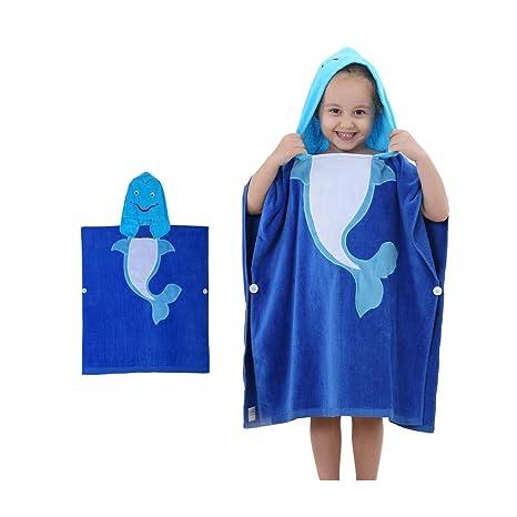 Albornoz con capucha para niños de gran tamaño, toalla de baño de algodón 3D,