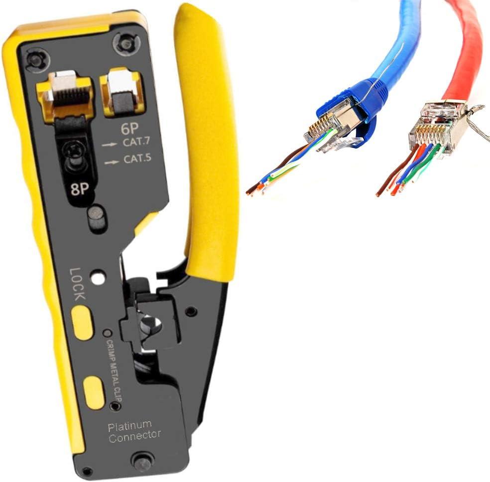 Platinum Connector Mini Compact HD RJ45//RJ11//RJ12 Crimp Tool for Pass Through Connector Mini - Yellow