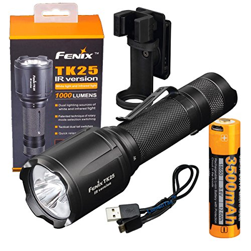 Fenix TK25 IR (TK25IR) 1000 Lumen LED 3000mW 850nm Infrared Tactical Flashlight & Charging Bundle USB Rechargeable High Capacity 3500maH 18650 Battery & LumenTac Charging Cable Review