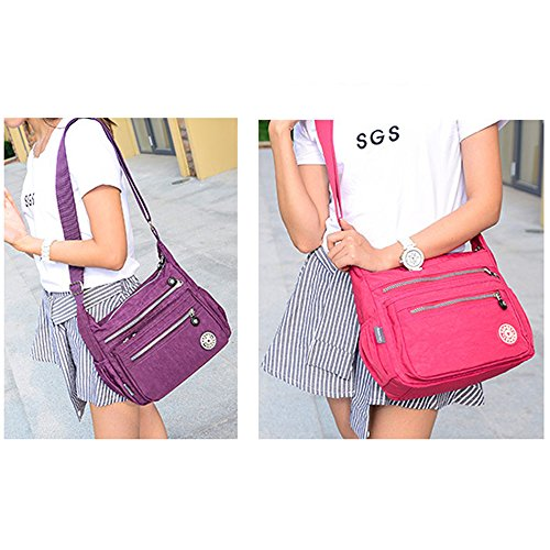Women Crossbody Handbag Shoulder Messenger Casual Howoo Purse Travel Bag Girls for M18 light Nylon Multi purple Pockets Bag Onq8F