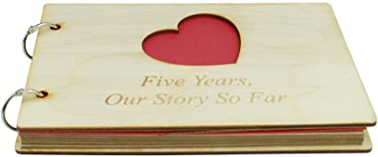 5 Year Anniversary Wooden Scrapbook Perfect for Your Wife or Girlfriend