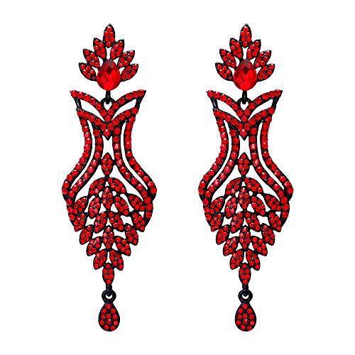 (EVER FAITH Women's Crystal Luxury Boho Art Deco Flower Leaf Waterdrop Pierced Earrings Red Black-Tone)