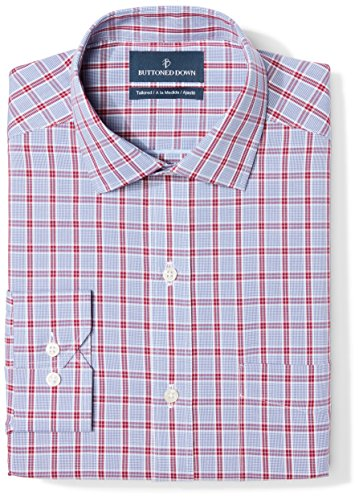 BUTTONED DOWN Men's Tailored Fit Spread-Collar Pattern Non-Iron Dress Shirt, Red/Blue Large Plaid, 16
