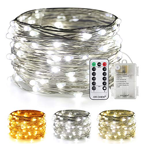 ER CHEN Color Changing Battery Operated Fairy Lights, 33ft 100 LED 8 Modes Silvery Copper Wire Twinkle String Lights with Remote/Timer for Bedroom, Patio, Wedding, Party (Warm White&Cool White) (Transforming Flash Light)