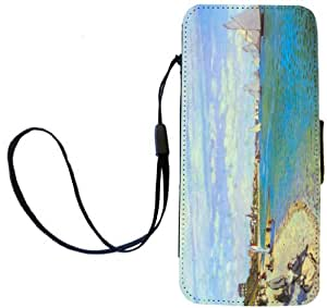 Rikki KnightTM Claude Monet Art The Beact at Saint Adresse Design iPhone Apple 5c PU Leather Wallet Type Flip Case with Magnetic Flap and Wristlet for Apple iPhone 5c