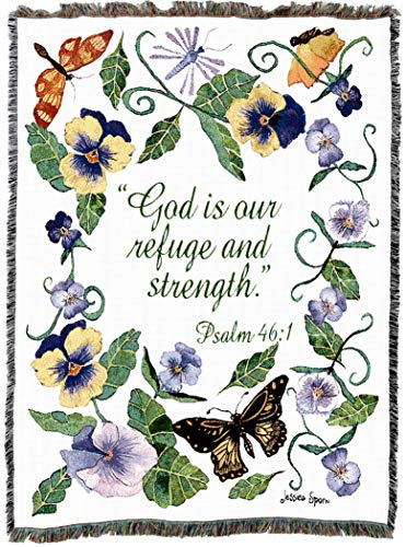 Pure Country Weavers | Butterflies Psalm God Refuge Strength Woven Tapestry Throw Blanket with Fringe Cotton USA 72x54 ()