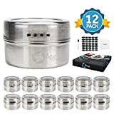 12 Premium Grade 304 Stainless Steel Magnetic Spice Tins with clear lids 150 Labels by Aqua Kitchen-Spice Tin Storage Containers, Kitchen Organizer, Attractable to Magnetic Spice Rack or Refrigerator