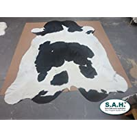 Black and White Cowhide Rug Cow Hide Skin Leather Area Rug: XL