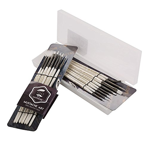 (MUSTACHE Mini Artist Brushes Set - 15 pcs White Synthetic Hair Miniature Artist Brush Set for Detail)