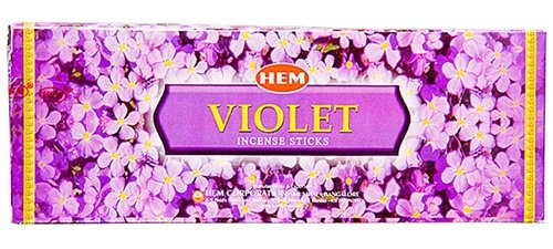 Violet - Box of Six 20 Stick Hex Tubes - HEM Incense Hand Rolled In India USA