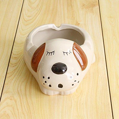 YOURNELO Cartoon Cute Ceramic Flower Pot Cigarette Ashtray (Dog Beige)