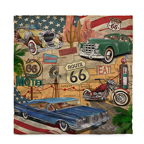 Fantasy Star Rectangle Polyester Tablecloth, Retro Car Motel Route 66 Tablecloths Machine Washable Table Cover Decorative Table Cloth for Kitchen Dinning Banquet Parties 60 x 84 Inch