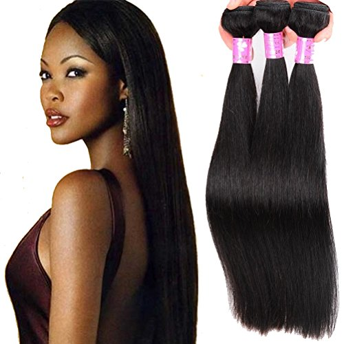 Refeeny Raw Virgin Remy Brazilian Human Hair Straight 3 Bundles Unprocessed Weave Natural Black Color 26 28 30 Inch