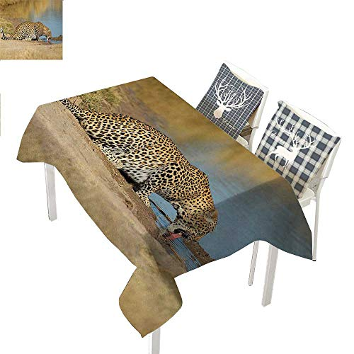 Safari Christmas Tablecloth Napkins Leopard Panther Drinking at Waterhole Wild South African Animal Documentary PrintLight Brown Rectangle Tablecloth W60 xL120 inch